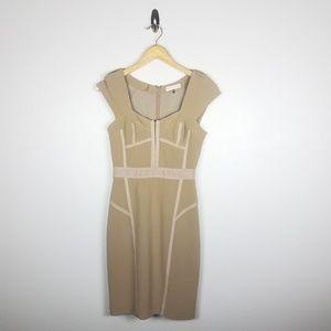 Rebecca Taylor Womens Dress SZ 2 Beige Cap Sleeve